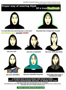 As you get dressed, picture yourself from the perspective of your poor suffering Muslim brother. You wouldn't want to tempt him to lust with a few wisps of hair or the outline of a shoulder under your jilbab, would you?