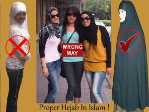 Notice the gendered racial politics going on in this hijab meme: Real live brown and black Muslim women aren't doing hijab right... but a white-faced MANNEQUIN demonstrates the pious standard that they should imitate. And, this is being circulated on the internet by Muslims, in order to instruct Muslim women how to dress. By all that is holy... you just can't make this stuff up.